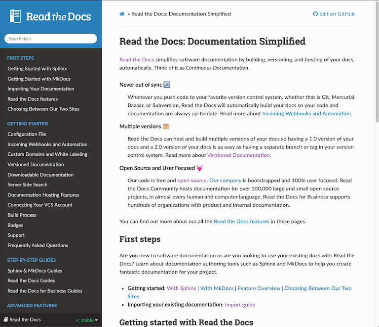 Read the Docs documentation site