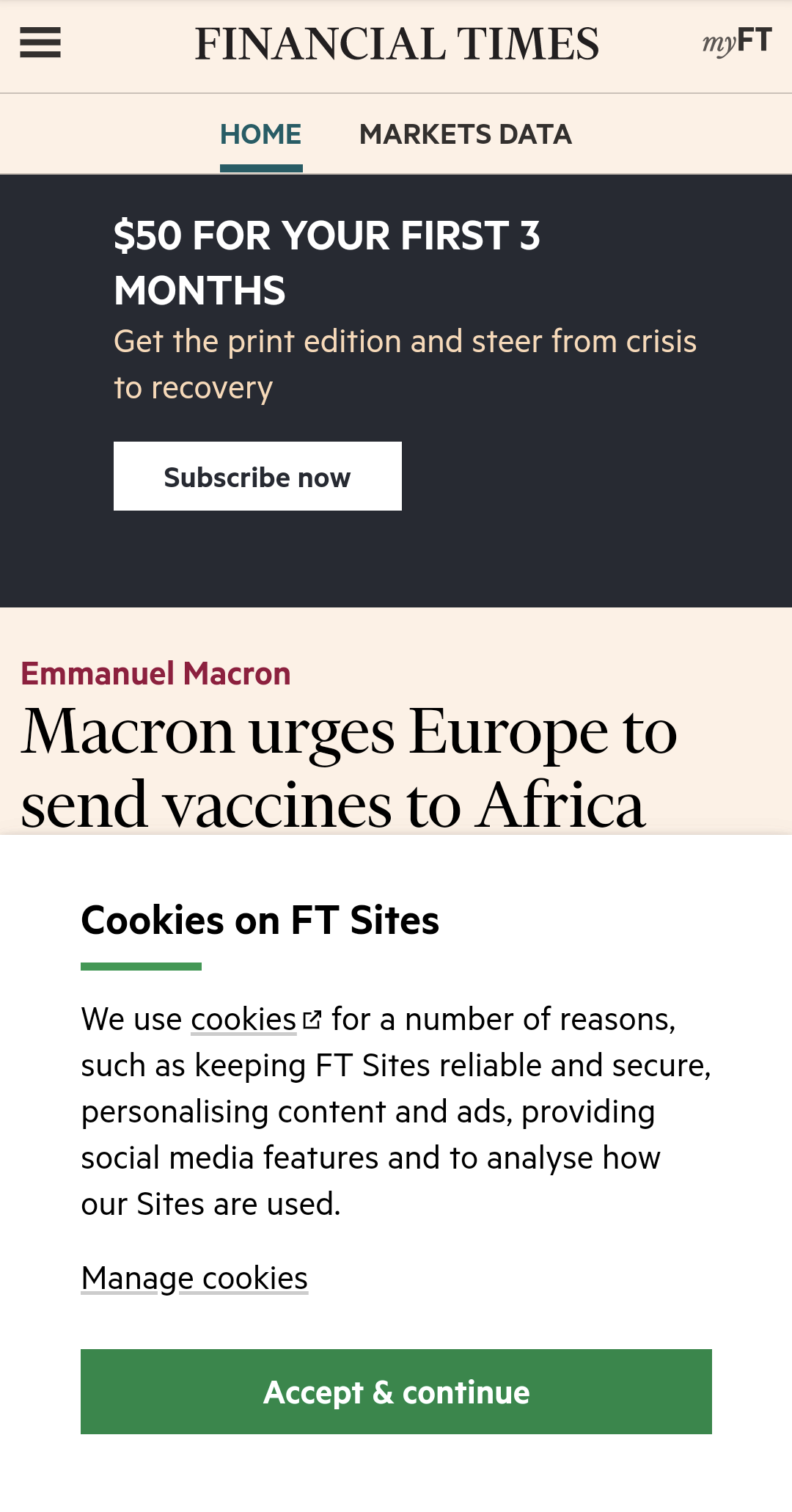A cookie banner on the Financial Times taking up about half the screen